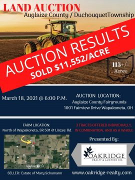 AUGLAIZE COUNTY FARM AUCTION 115+/- ACRES